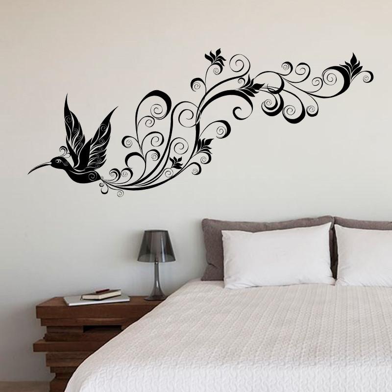 Sticker perete negru colibri stilizat for Dibujos para adornar paredes