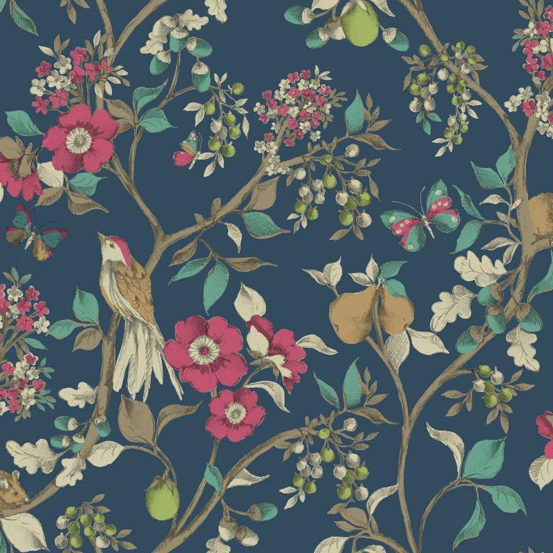 Tapet Floral Damsen Albastru - Catalog