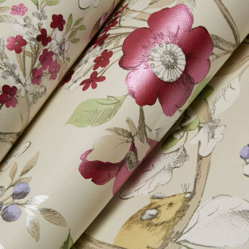 Tapet Floral Damsen Crem - Detaliu 2