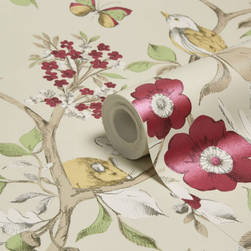 Tapet Floral Damsen Crem - Detaliu 1