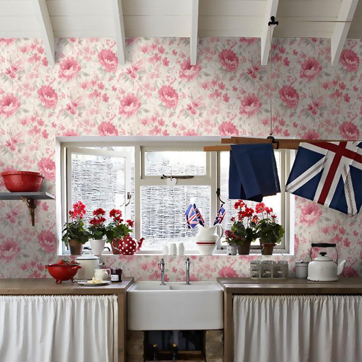 Tapet cu Flori Rosii Olina - Ambient 1