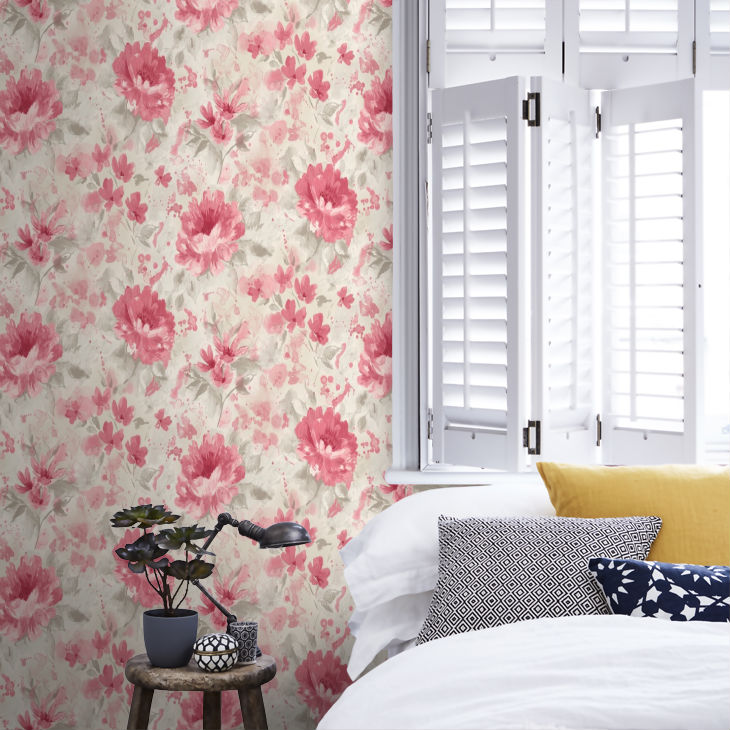 Tapet cu Flori Rosii Olina - Ambient 2