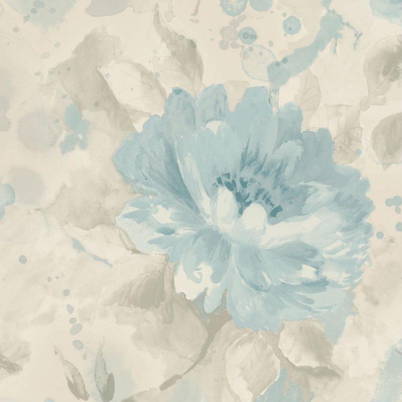 Tapet cu Flori Bleu Olina - Detaliu