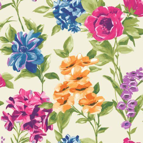 Tapet cu Flori Colorate Petula Crem - Catalog