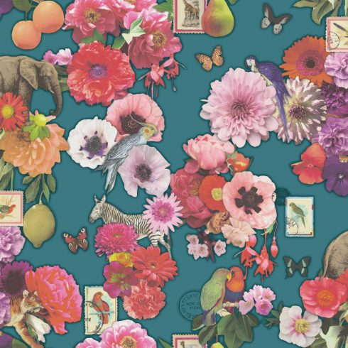 Tapet Eclectic Flori si Animale Multicolore - Turcoaz Catalog