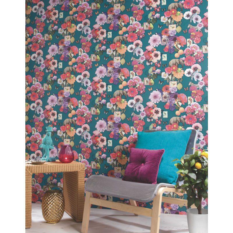 Tapet Eclectic Flori si Animale Multicolore - Turcoaz Ambient