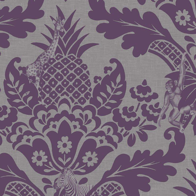 Tapet Damasc Exotic Violet Bengal - Detaliu