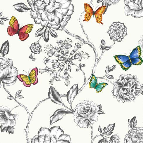 Tapet fluturi si flori pe fundal alb - Catalog