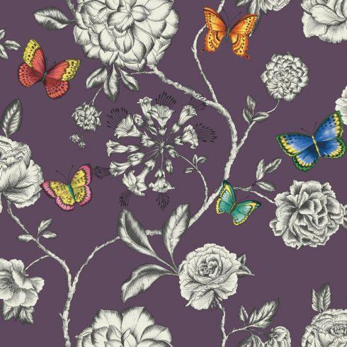 Tapet fluturi si flori pe fundal violet - Catalog