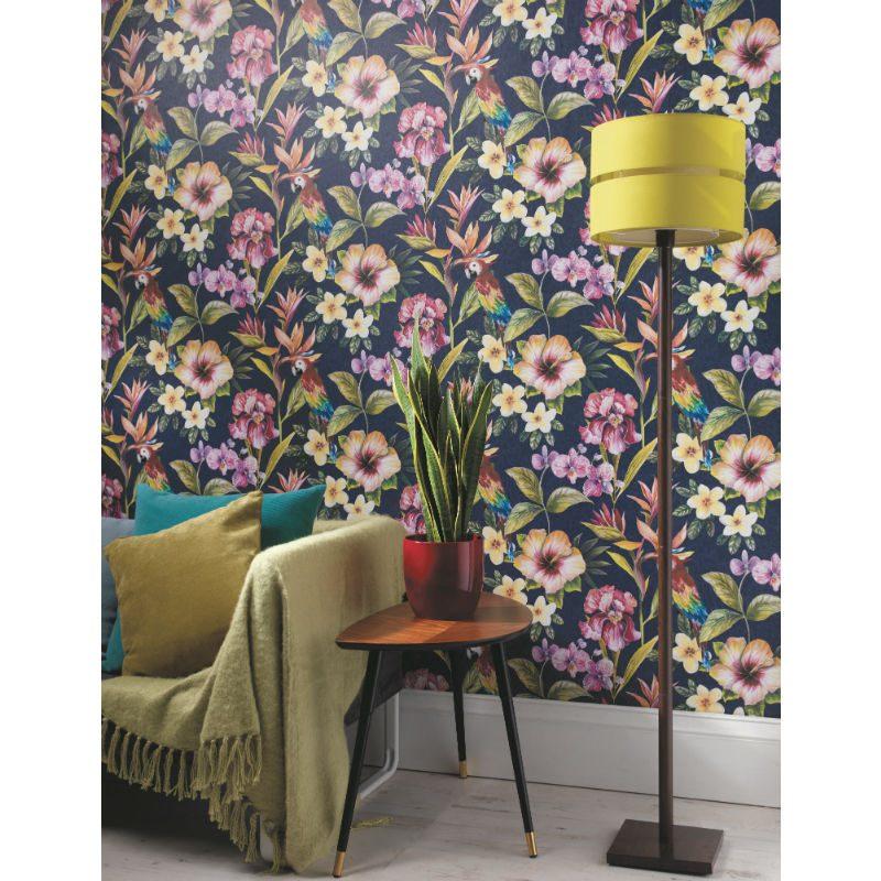 Tapet exotic flori si papagali multicolori - Holden Albastru Ambient