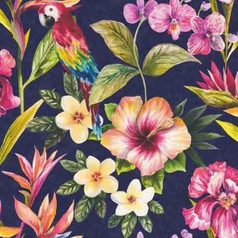 Tapet exotic flori si papagali multicolori - Holden Albastru Catalog