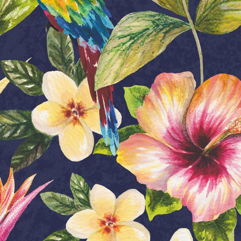 Tapet exotic flori si papagali multicolori - Holden Albastru Detaliu
