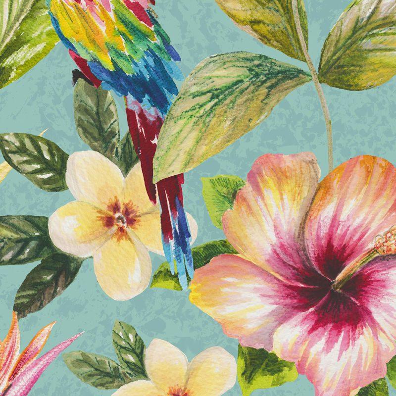 Tapet exotic flori si papagali multicolori - Holden Bleu Detaliu