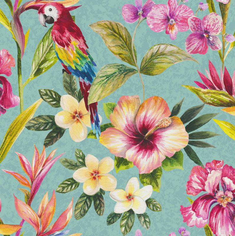 Tapet exotic flori si papagali multicolori - Holden Bleu Catalog