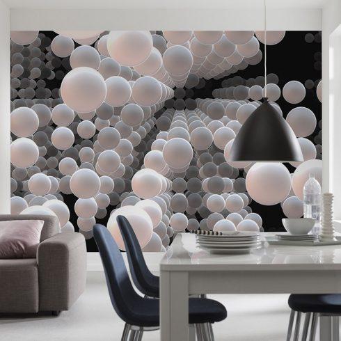 Fototapet sfere albe cu efect 3D