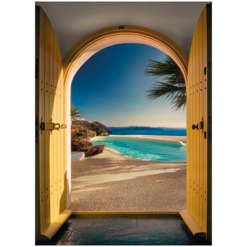 Fototapet usa deschisa Santorini