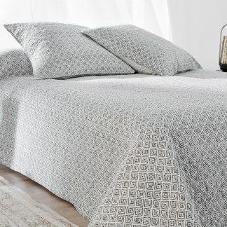 Cuvertura pat dublu alba cu romburi gri Seville
