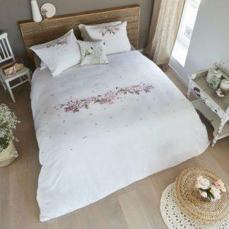 Lenjerie de pat alba cu pasari si flori de cires Catalog