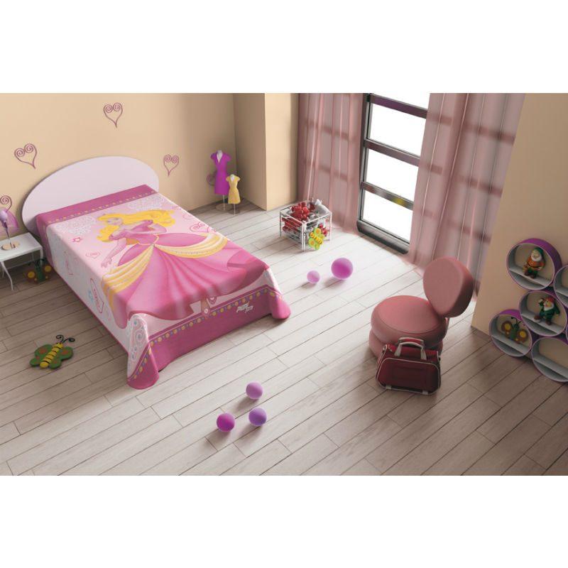 Cuvertura pat roz cu printesa Ambient