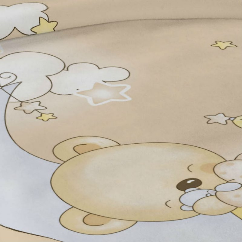 Patura copii crem pufoasa cu ursulet Detaliu