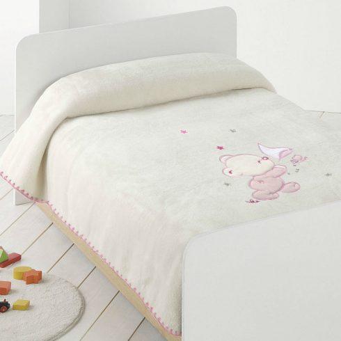Paturica bebe pufoasa alba cu ursulet roz catalog