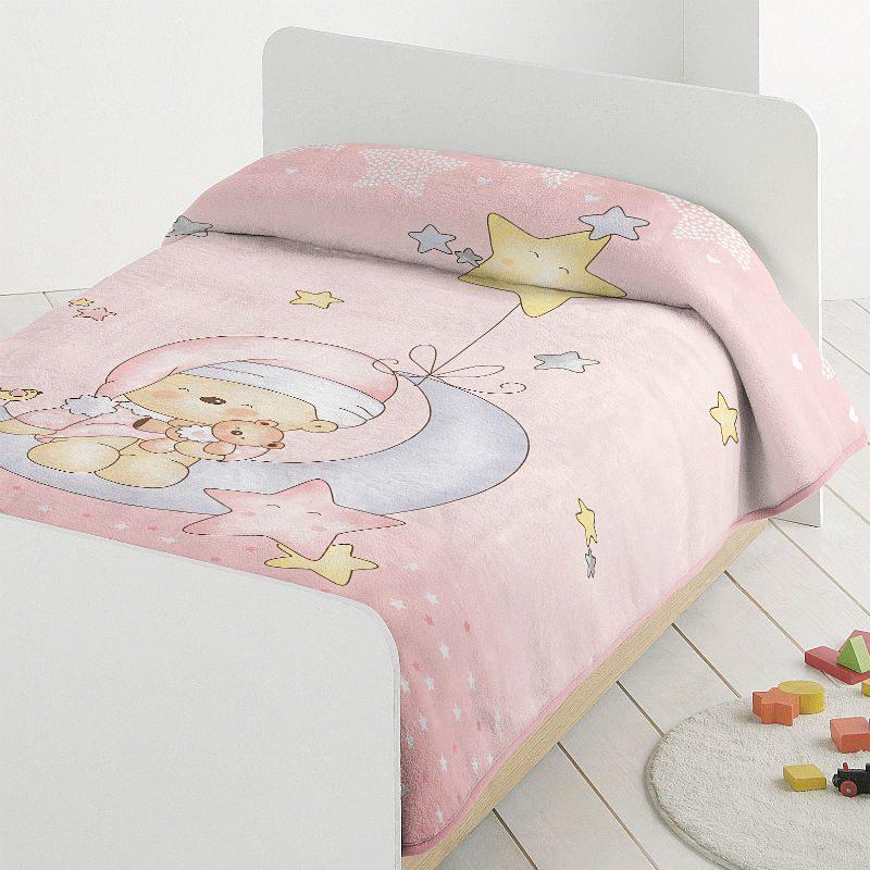 Paturica pentru copii moale roz cu ursulet catalog
