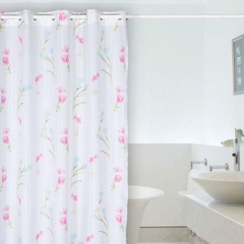Perdea baie cu flori roz si bleu Ariela Catalog