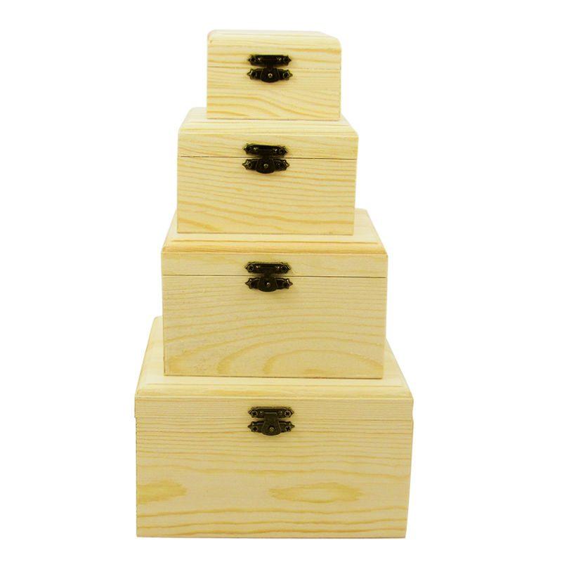 Set 4 cutii din lemn patrate cu capac Catalog