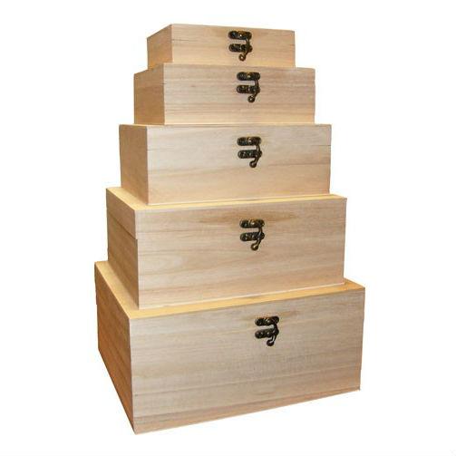 Set 5 cutii mari din lemn dreptunghiulare Catalog