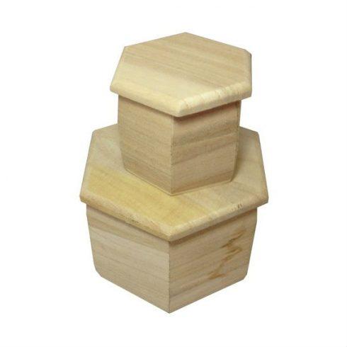 Set doua cutii lemn hexagonale cu capac Catalog