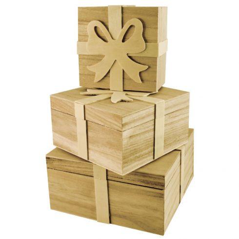 Set trei cutii cadou din lemn cu fundita Catalog