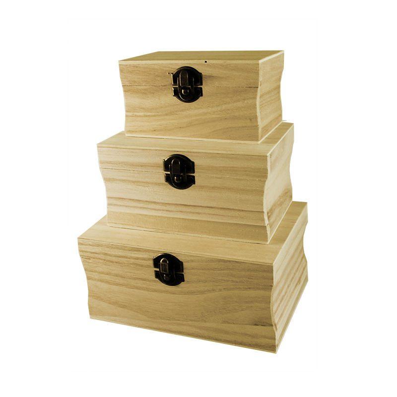 Set trei cutii lemn cu laterale curbate