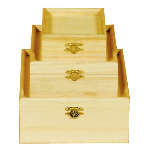 Set trei cutii lemn patrate