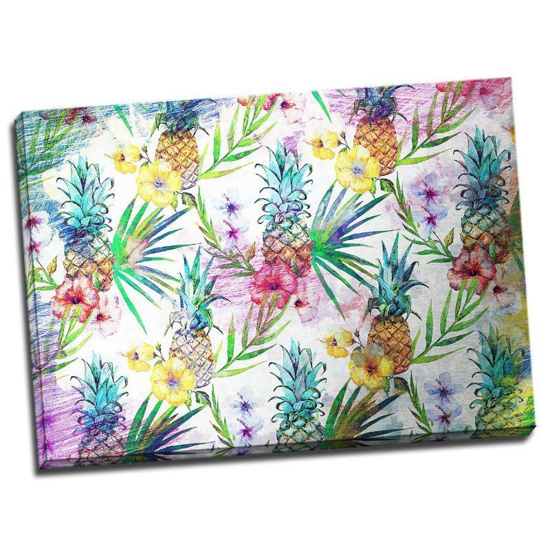 Tablou colorat cu flori exotice si ananasi Catalog