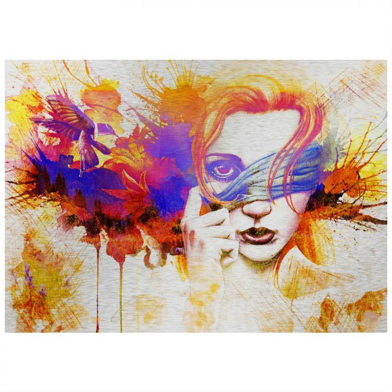 Tablou abstract cu chip de femeie - Aspect zona intinecata