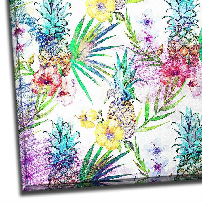 Tablou colorat cu flori exotice si ananasi Detaliu