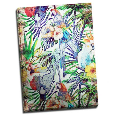 Tablou exotic cu flori tropicale si papagali Catalog
