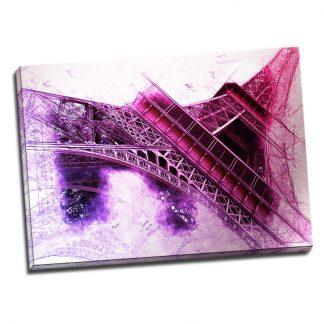 Tablou vintage Tour Eiffel - Aspect zona luminata