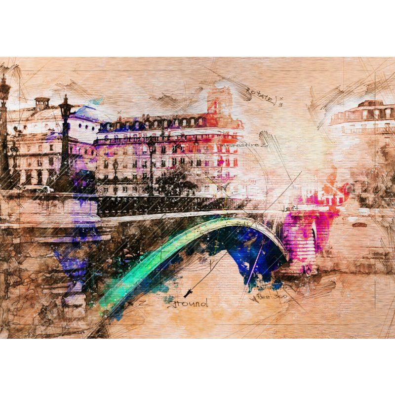 Tablou Paris cu aspect vintage - Aspect zona intunecata