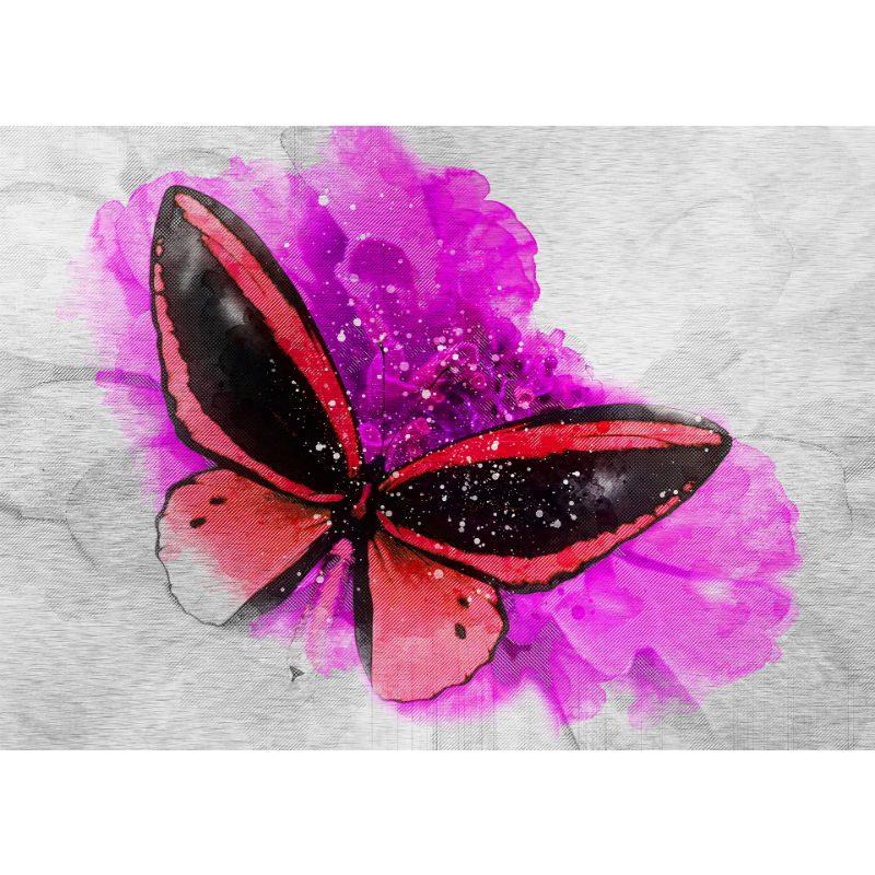 Tablou fluture rosu pe floare fucsia - Aspect zona intunecata