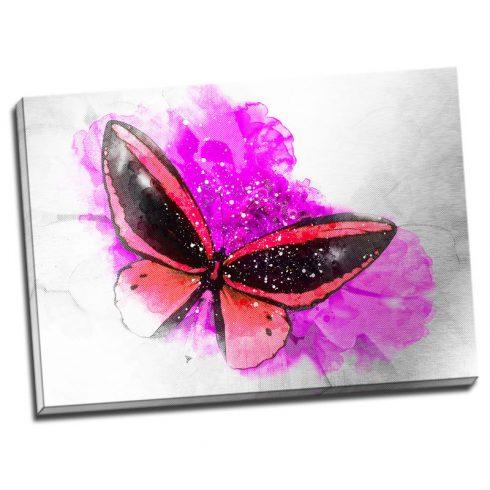Tablou fluture rosu pe floare fucsia - Aspect zona luminata