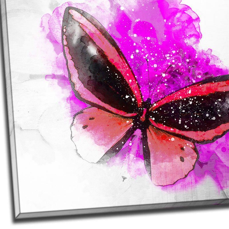 Tablou fluture rosu pe floare fucsia - Detaliu