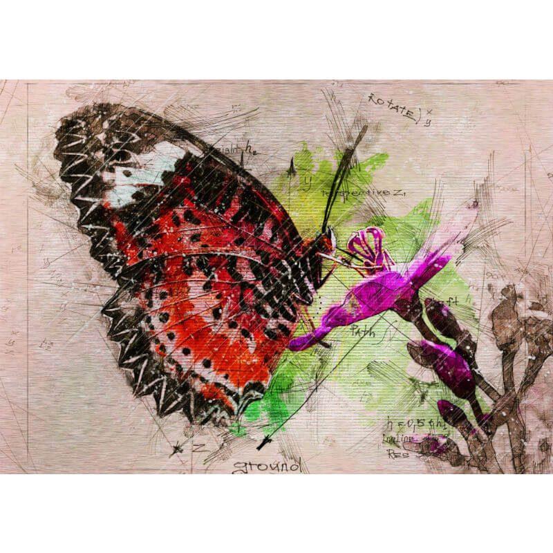 Tablou fluture - Botanica in culori - Aspect zona intunecata