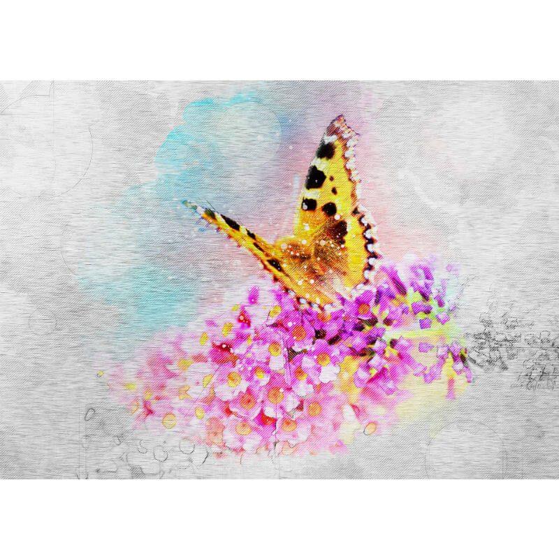 Tablou fluture - Vis suav pe metal - Aspect zona intunecata