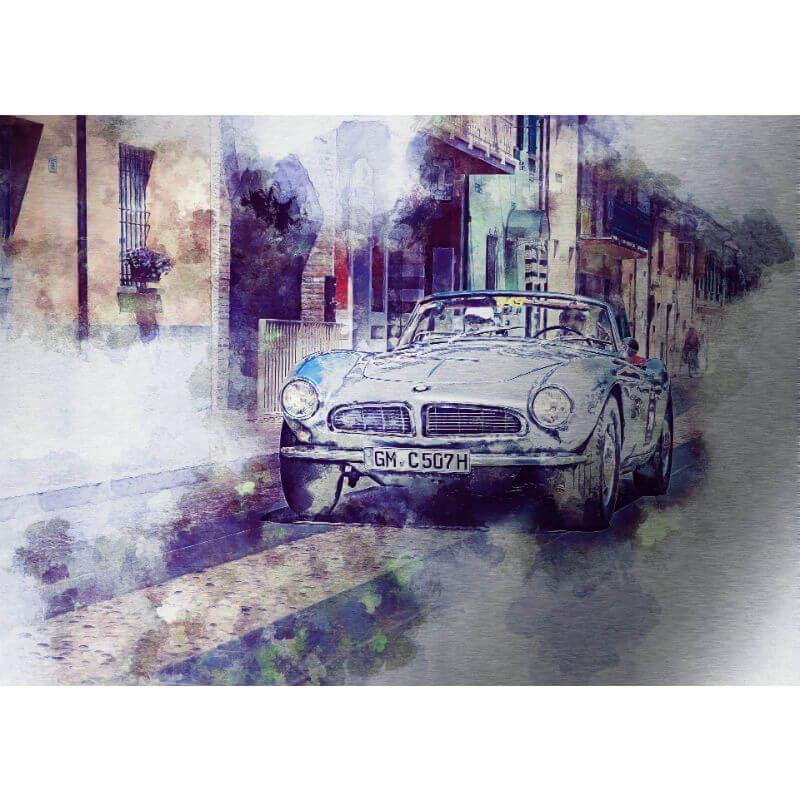 Tablou masina vintage in tonuri violet - Aspect zona intunecata