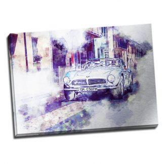 Tablou masina vintage in tonuri violet - Aspect zona luminata