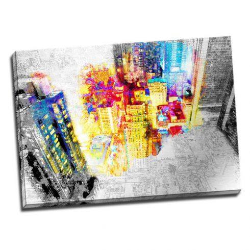 Tablou urban print pe aluminiu Inima orasului - Aspect zona luminata