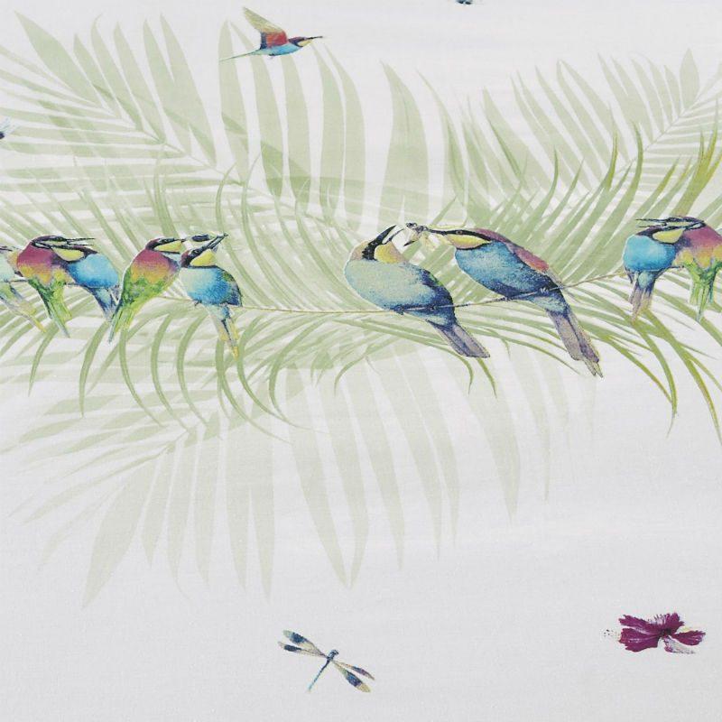 Lenjerie pentru pat alba cu pasari colibri - Detaliu