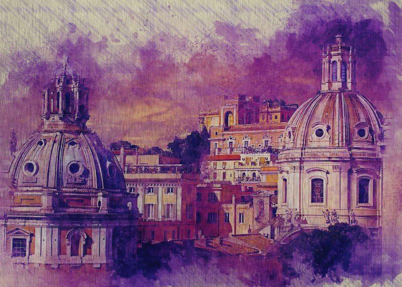 Tablou Roma - Domuri violet - Aspect zona intunecata