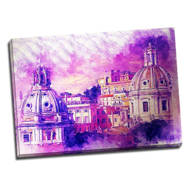 Tablou Roma - Domuri violet - Aspect zona luminata